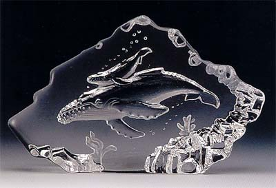 Hump Back Whale and Calf Leaded Crystal Sculpture