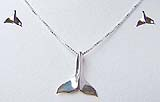 Whale Tail Necklace and Earrings Set