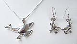 Humpback Whales Necklace & Earrings Set